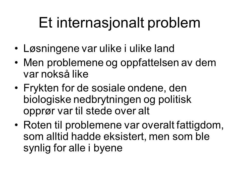 Et internasjonalt problem Løsningene var ulike i ulike land Men problemene og oppfattelsen av dem var nokså like Frykten for de sosiale ondene, den bi