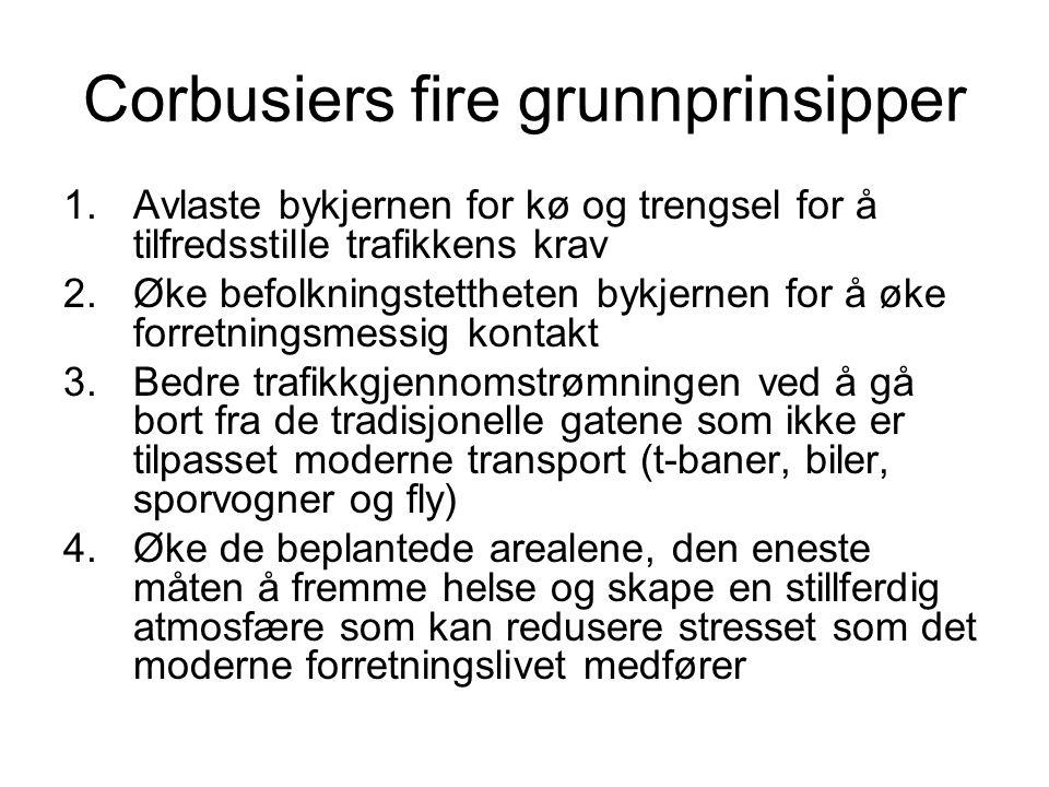 Corbusiers fire grunnprinsipper 1.Avlaste bykjernen for kø og trengsel for å tilfredsstille trafikkens krav 2.Øke befolkningstettheten bykjernen for å