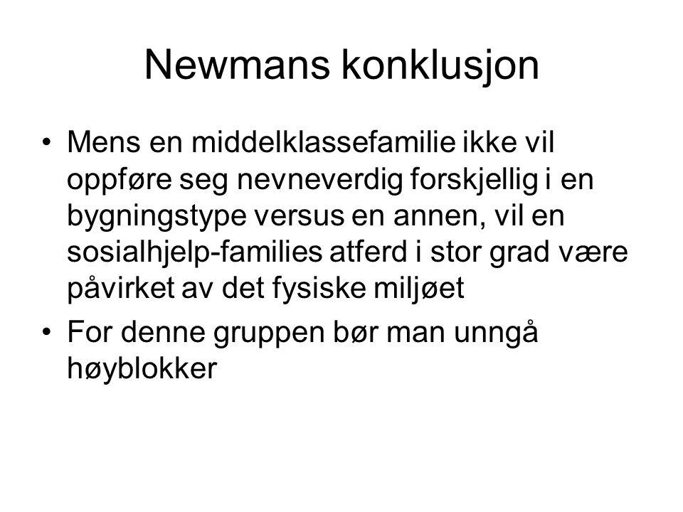 Newmans konklusjon Mens en middelklassefamilie ikke vil oppføre seg nevneverdig forskjellig i en bygningstype versus en annen, vil en sosialhjelp-families atferd i stor grad være påvirket av det fysiske miljøet For denne gruppen bør man unngå høyblokker