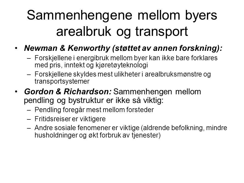 Sammenhengene mellom byers arealbruk og transport Newman & Kenworthy (støttet av annen forskning): –Forskjellene i energibruk mellom byer kan ikke bar
