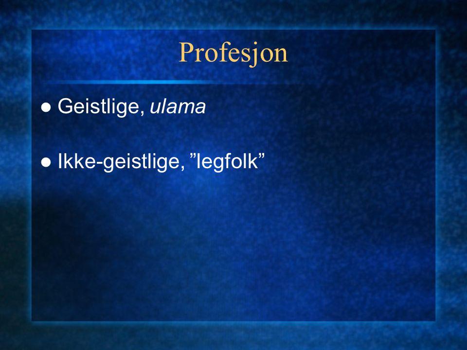 """Profesjon Geistlige, ulama Ikke-geistlige, """"legfolk"""""""