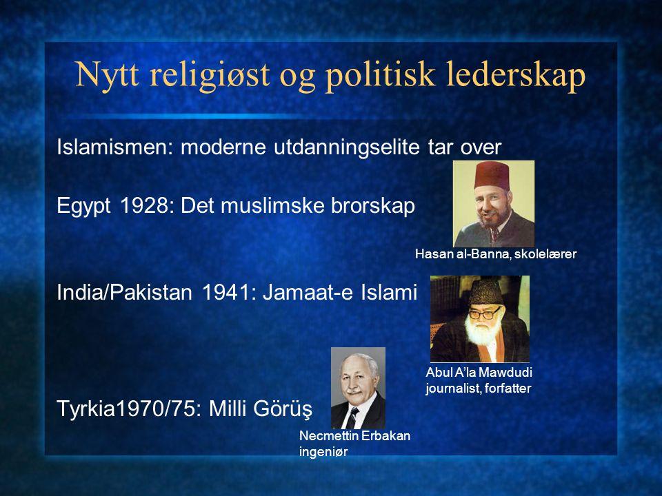 Nytt religiøst og politisk lederskap Islamismen: moderne utdanningselite tar over Egypt 1928: Det muslimske brorskap India/Pakistan 1941: Jamaat-e Isl