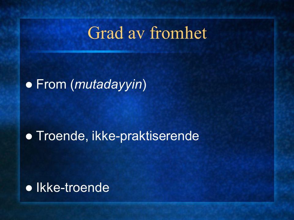Grad av fromhet From (mutadayyin) Troende, ikke-praktiserende Ikke-troende