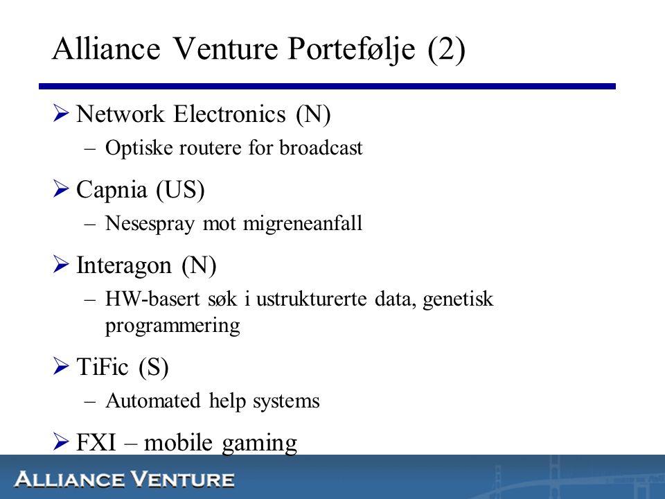 Alliance Venture Portefølje (2)  Network Electronics (N) –Optiske routere for broadcast  Capnia (US) –Nesespray mot migreneanfall  Interagon (N) –H