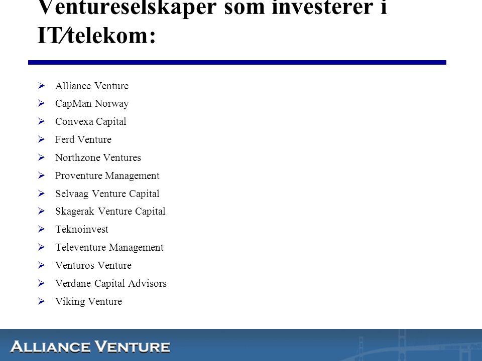 Ventureselskaper som investerer i IT⁄telekom:  Alliance Venture  CapMan Norway  Convexa Capital  Ferd Venture  Northzone Ventures  Proventure Ma