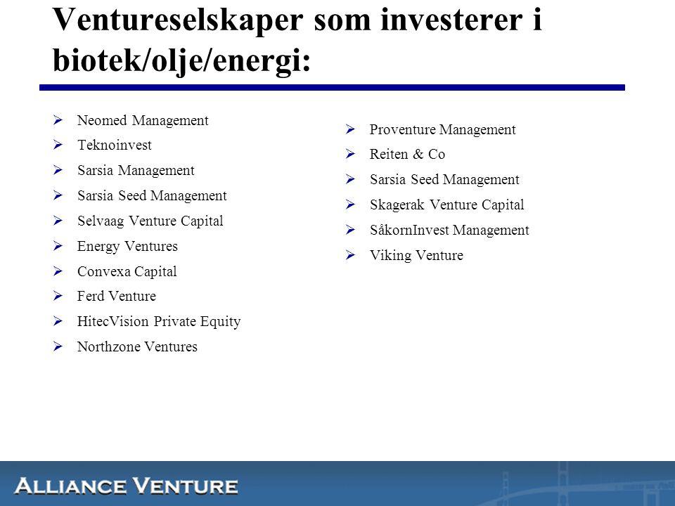 Ventureselskaper som investerer i biotek/olje/energi:  Neomed Management  Teknoinvest  Sarsia Management  Sarsia Seed Management  Selvaag Venture