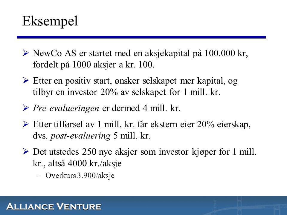 Eksempel  NewCo AS er startet med en aksjekapital på 100.000 kr, fordelt på 1000 aksjer a kr. 100.  Etter en positiv start, ønsker selskapet mer kap