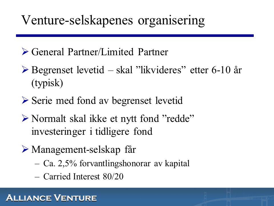 """Venture-selskapenes organisering  General Partner/Limited Partner  Begrenset levetid – skal """"likvideres"""" etter 6-10 år (typisk)  Serie med fond av"""
