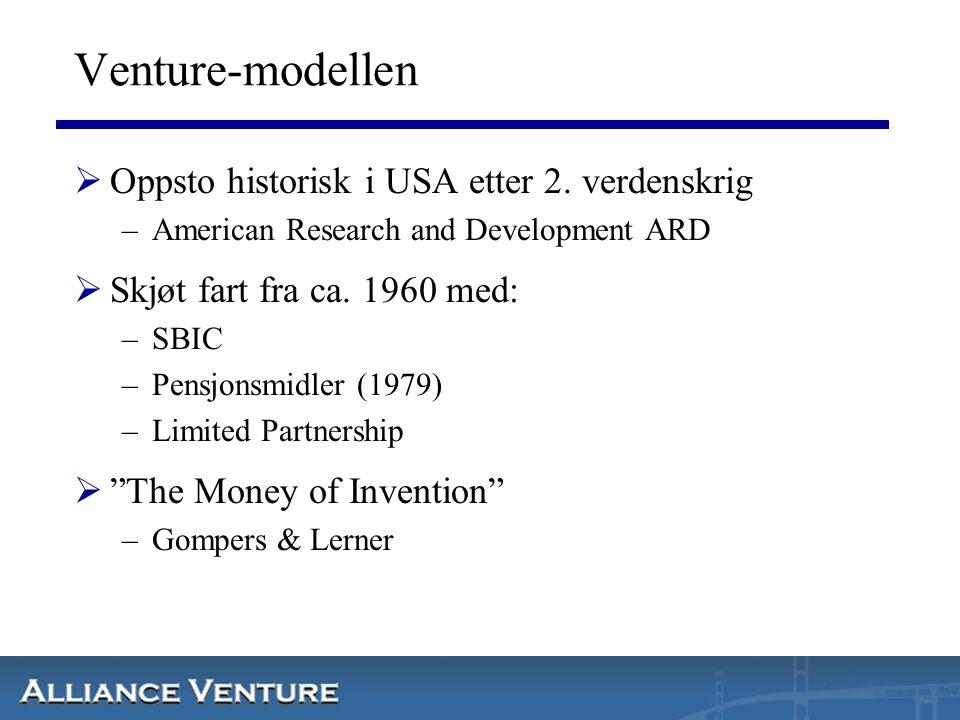 Venture-modellen  Oppsto historisk i USA etter 2. verdenskrig –American Research and Development ARD  Skjøt fart fra ca. 1960 med: –SBIC –Pensjonsmi