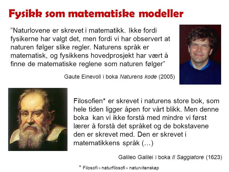 Fysikk som matematiske modeller Naturlovene er skrevet i matematikk.