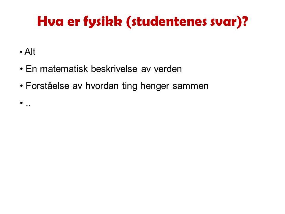 Hva er fysikk (studentenes svar).