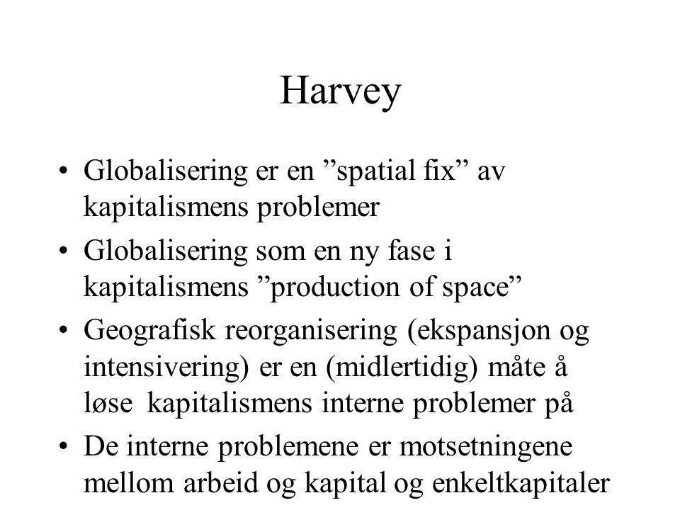 Harvey Globalisering er en spatial fix av kapitalismens problemer Globalisering som en ny fase i kapitalismens production of space Geografisk reorganisering (ekspansjon og intensivering) er en (midlertidig) måte å løse kapitalismens interne problemer på De interne problemene er motsetningene mellom arbeid og kapital og enkeltkapitaler