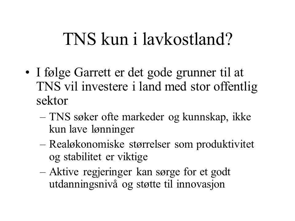 TNS kun i lavkostland.