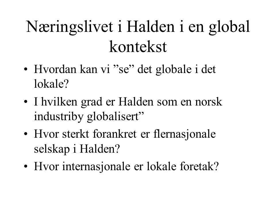 Næringslivet i Halden i en global kontekst Hvordan kan vi se det globale i det lokale.