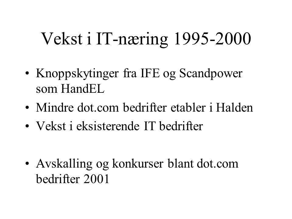 Vekst i IT-næring 1995-2000 Knoppskytinger fra IFE og Scandpower som HandEL Mindre dot.com bedrifter etabler i Halden Vekst i eksisterende IT bedrifter Avskalling og konkurser blant dot.com bedrifter 2001