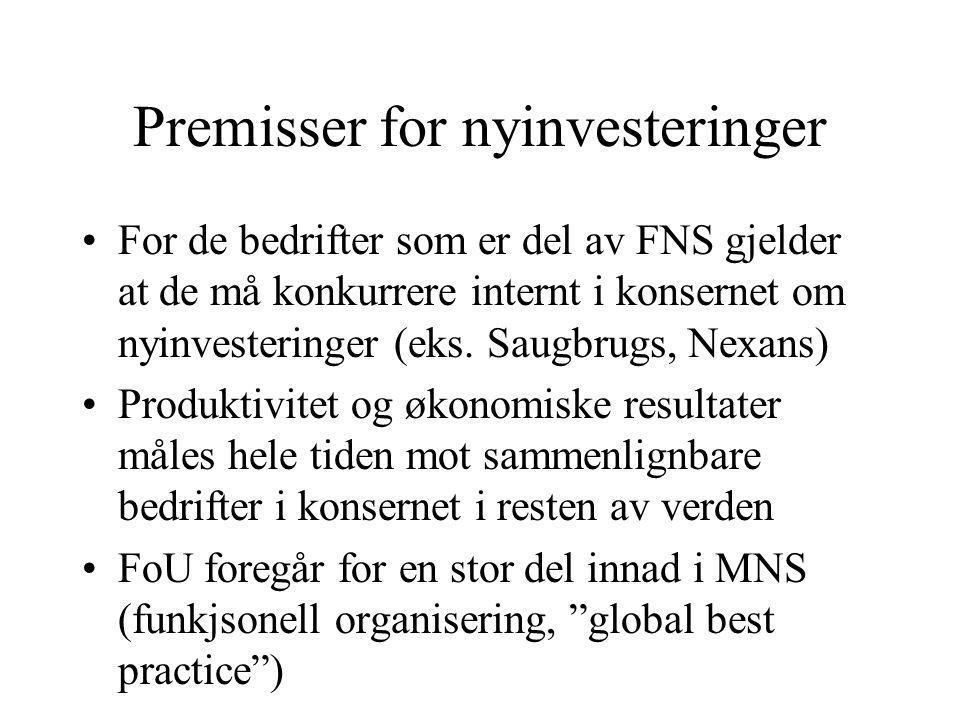 Premisser for nyinvesteringer For de bedrifter som er del av FNS gjelder at de må konkurrere internt i konsernet om nyinvesteringer (eks.