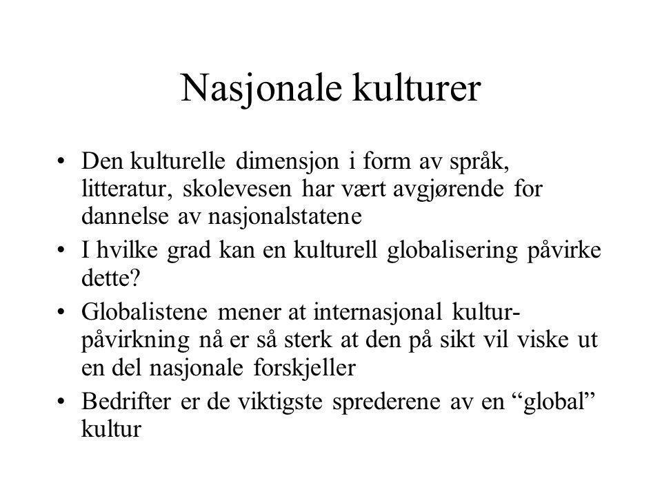 Nasjonale kulturer Den kulturelle dimensjon i form av språk, litteratur, skolevesen har vært avgjørende for dannelse av nasjonalstatene I hvilke grad kan en kulturell globalisering påvirke dette.
