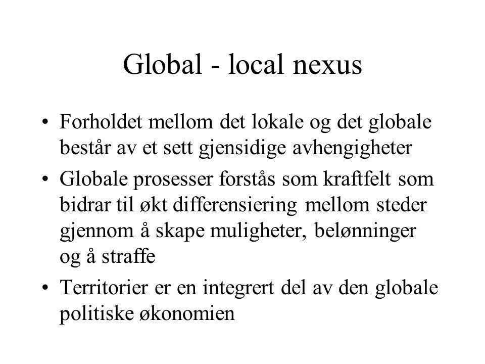 Global - local nexus Forholdet mellom det lokale og det globale består av et sett gjensidige avhengigheter Globale prosesser forstås som kraftfelt som bidrar til økt differensiering mellom steder gjennom å skape muligheter, belønninger og å straffe Territorier er en integrert del av den globale politiske økonomien