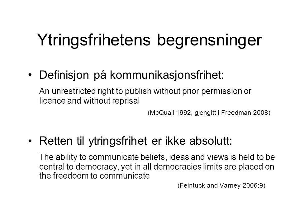 Ytringsfrihetens begrensninger Definisjon på kommunikasjonsfrihet: An unrestricted right to publish without prior permission or licence and without re