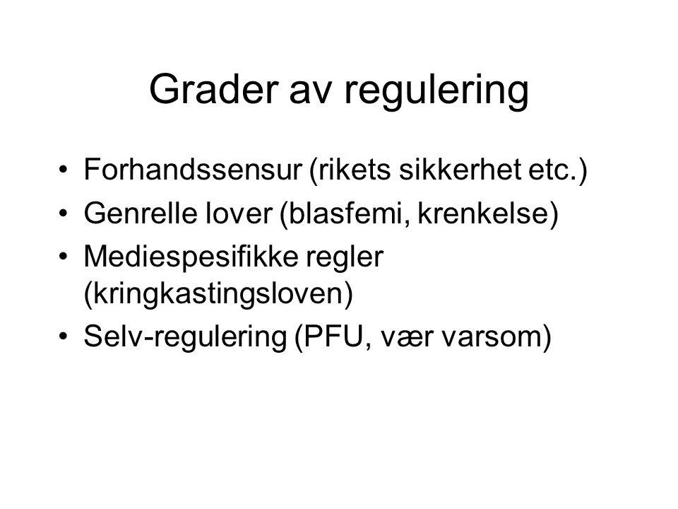 Grader av regulering Forhandssensur (rikets sikkerhet etc.) Genrelle lover (blasfemi, krenkelse) Mediespesifikke regler (kringkastingsloven) Selv-regu