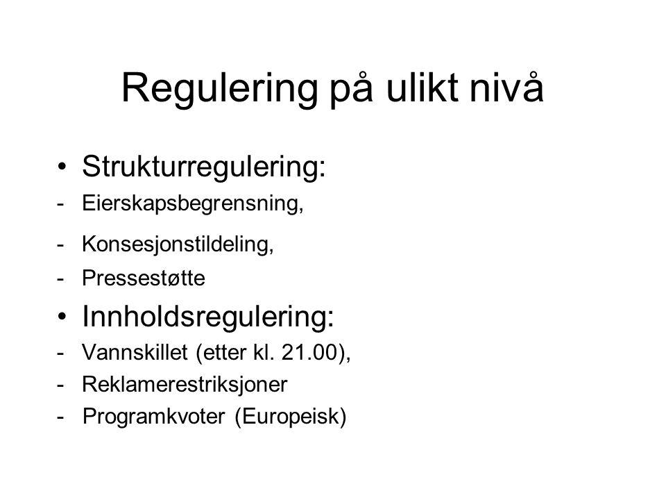 Regulering på ulikt nivå Strukturregulering: -Eierskapsbegrensning, -Konsesjonstildeling, -Pressestøtte Innholdsregulering: -Vannskillet (etter kl. 21