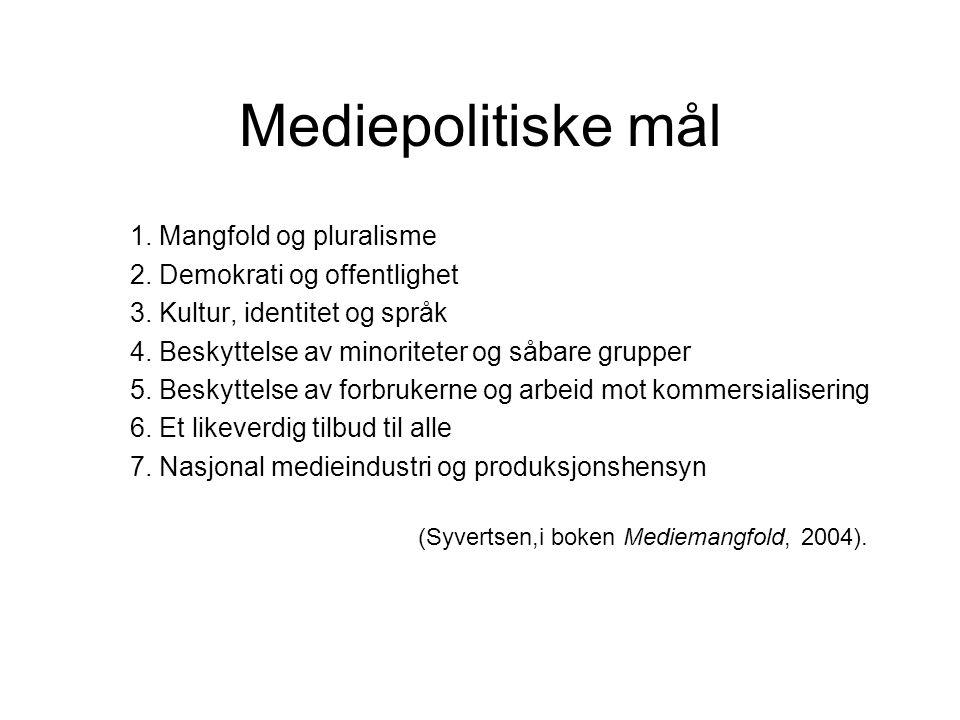 Mediepolitiske mål 1. Mangfold og pluralisme 2. Demokrati og offentlighet 3. Kultur, identitet og språk 4. Beskyttelse av minoriteter og såbare gruppe