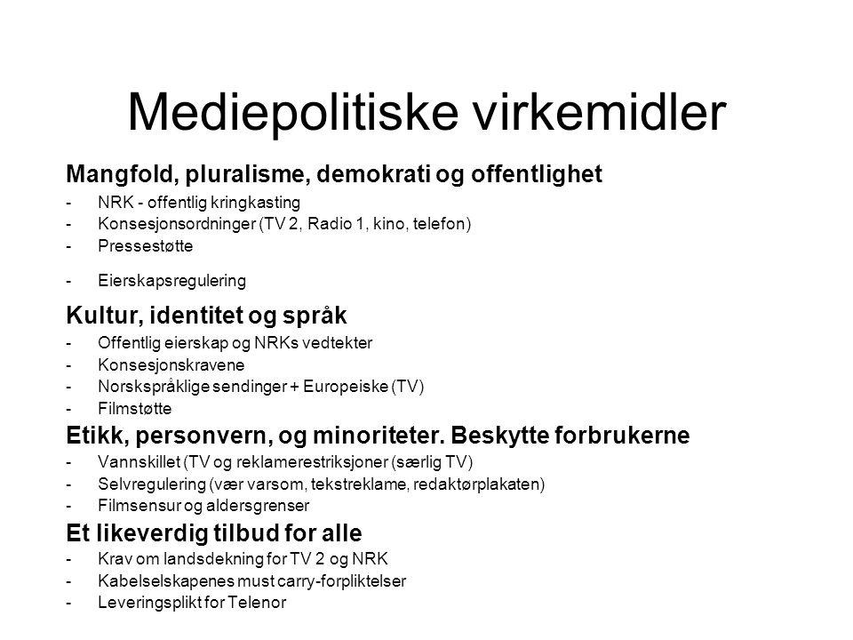 Mediepolitiske virkemidler Mangfold, pluralisme, demokrati og offentlighet -NRK - offentlig kringkasting -Konsesjonsordninger (TV 2, Radio 1, kino, te