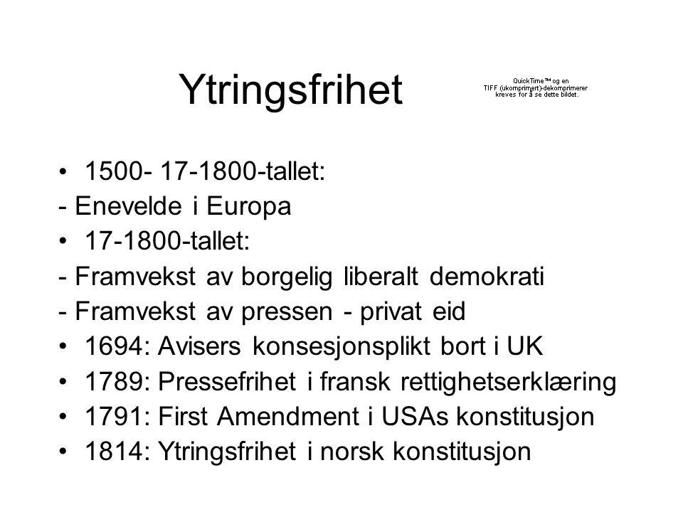 Ytringsfrihet 1500- 17-1800-tallet: - Enevelde i Europa 17-1800-tallet: - Framvekst av borgelig liberalt demokrati - Framvekst av pressen - privat eid