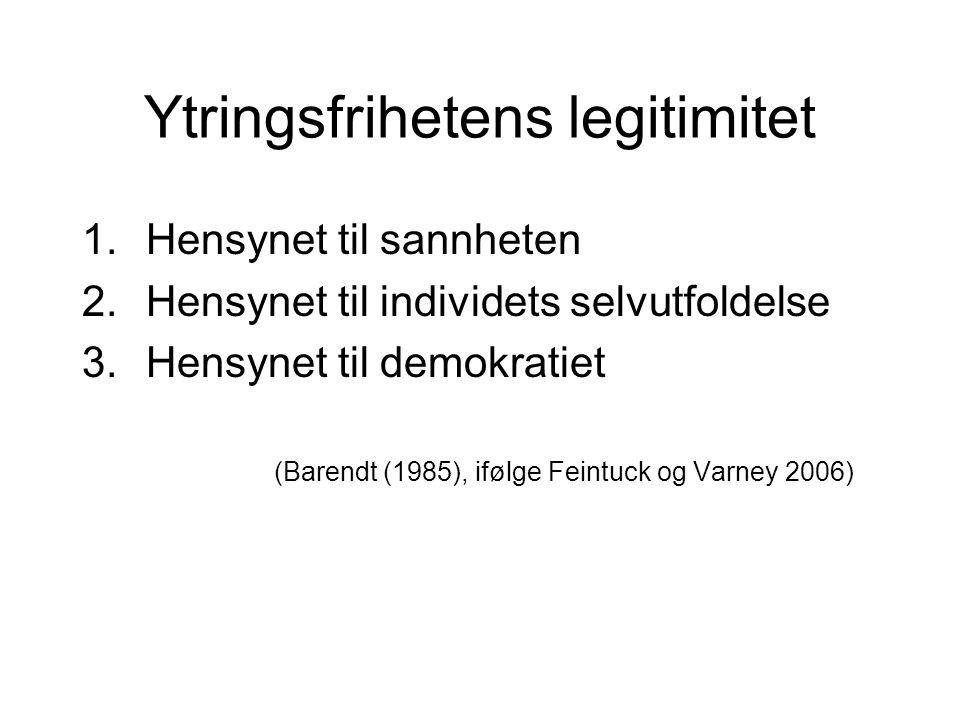 Ytringsfrihetens legitimitet 1.Hensynet til sannheten 2.Hensynet til individets selvutfoldelse 3.Hensynet til demokratiet (Barendt (1985), ifølge Fein