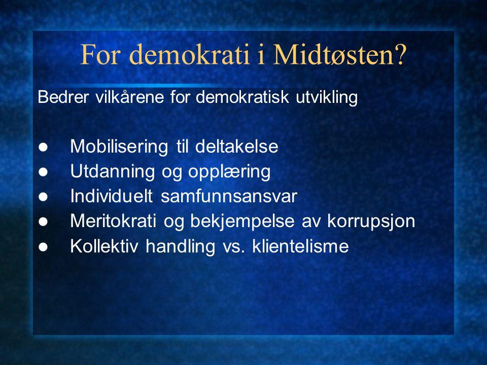 For demokrati i Midtøsten? Bedrer vilkårene for demokratisk utvikling Mobilisering til deltakelse Utdanning og opplæring Individuelt samfunnsansvar Me