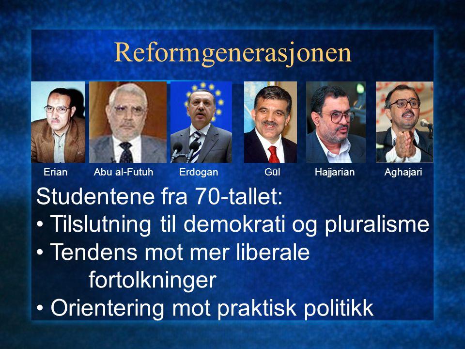 Reformgenerasjonen ErianAbu al-FutuhErdoganGülHajjarianAghajari Studentene fra 70-tallet: Tilslutning til demokrati og pluralisme Tendens mot mer libe