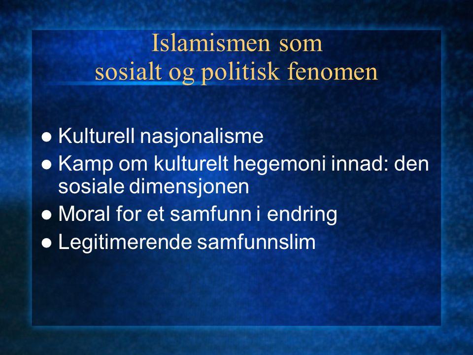 Islamismen som sosialt og politisk fenomen Kulturell nasjonalisme Kamp om kulturelt hegemoni innad: den sosiale dimensjonen Moral for et samfunn i end