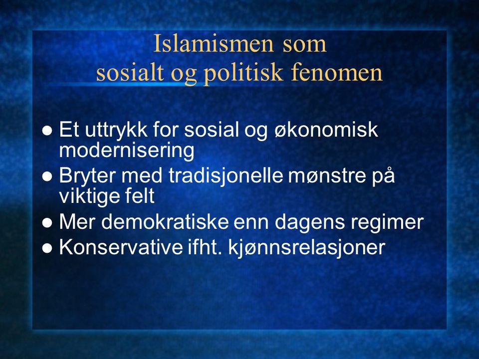 Islamismen som sosialt og politisk fenomen Et uttrykk for sosial og økonomisk modernisering Bryter med tradisjonelle mønstre på viktige felt Mer demok