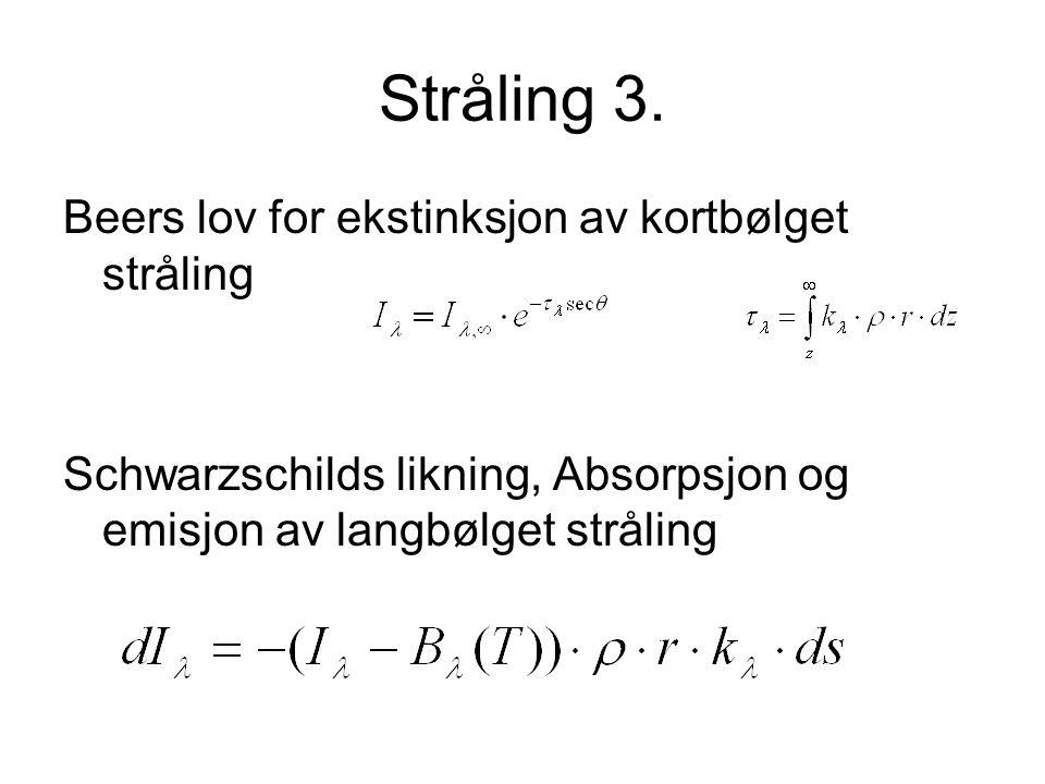 Stråling 3. Beers lov for ekstinksjon av kortbølget stråling Schwarzschilds likning, Absorpsjon og emisjon av langbølget stråling