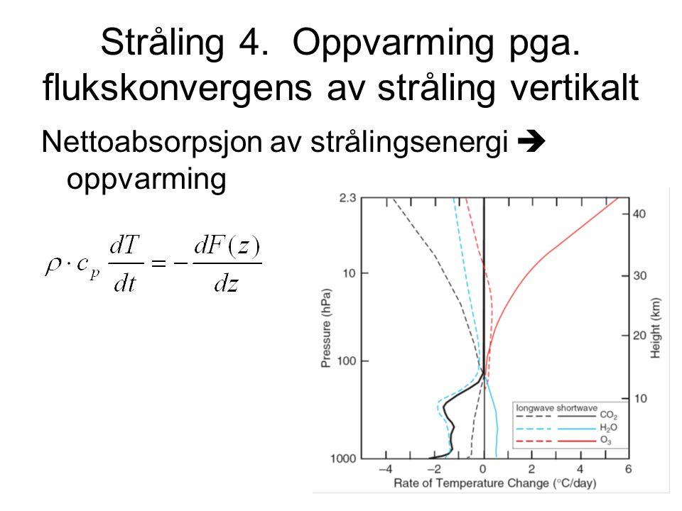 Stråling 4. Oppvarming pga. flukskonvergens av stråling vertikalt Nettoabsorpsjon av strålingsenergi  oppvarming