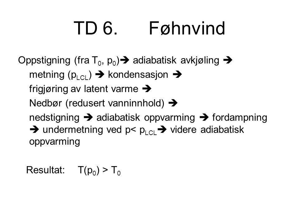 TD 6. Føhnvind Oppstigning (fra T 0, p 0 )  adiabatisk avkjøling  metning (p LCL )  kondensasjon  frigjøring av latent varme  Nedbør (redusert va