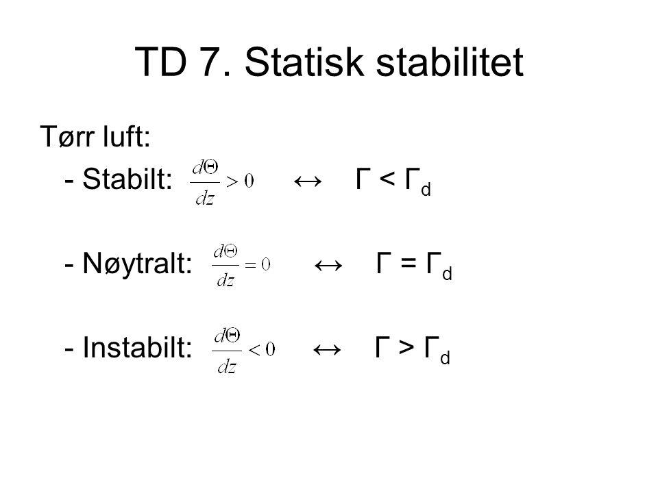 TD 7. Statisk stabilitet Tørr luft: - Stabilt: ↔ Γ < Γ d - Nøytralt: ↔ Γ = Γ d - Instabilt: ↔ Γ > Γ d