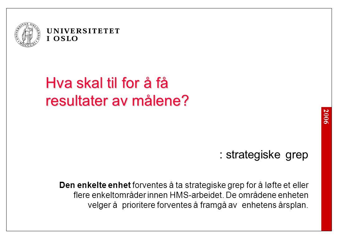 2006 Hva skal til for å få resultater av målene? : strategiske grep Den enkelte enhet forventes å ta strategiske grep for å løfte et eller flere enkel