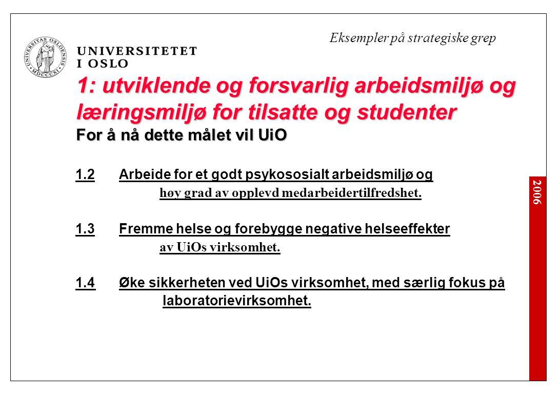 2006 1: utviklende og forsvarlig arbeidsmiljø og læringsmiljø for tilsatte og studenter For å nå dette målet vil UiO 1.2 Arbeide for et godt psykososi