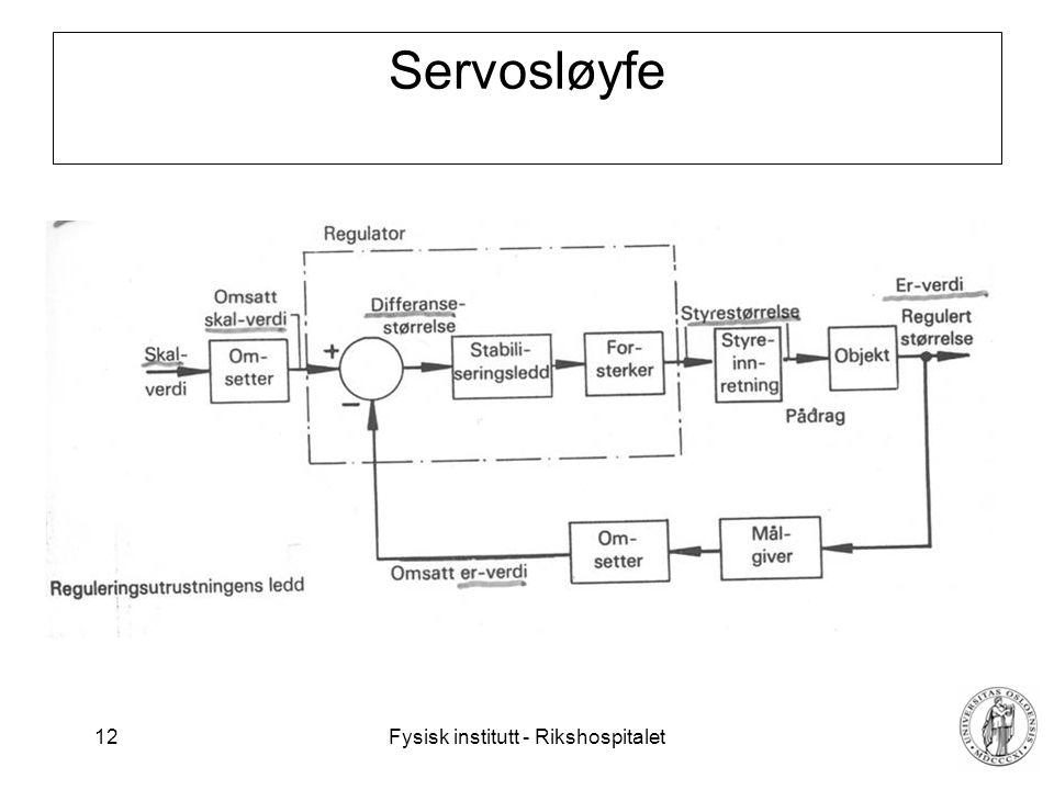 Fysisk institutt - Rikshospitalet 13 Dynamisk system Den medisinske variable som skal måles varierer vanligvis som funksjon av tid.