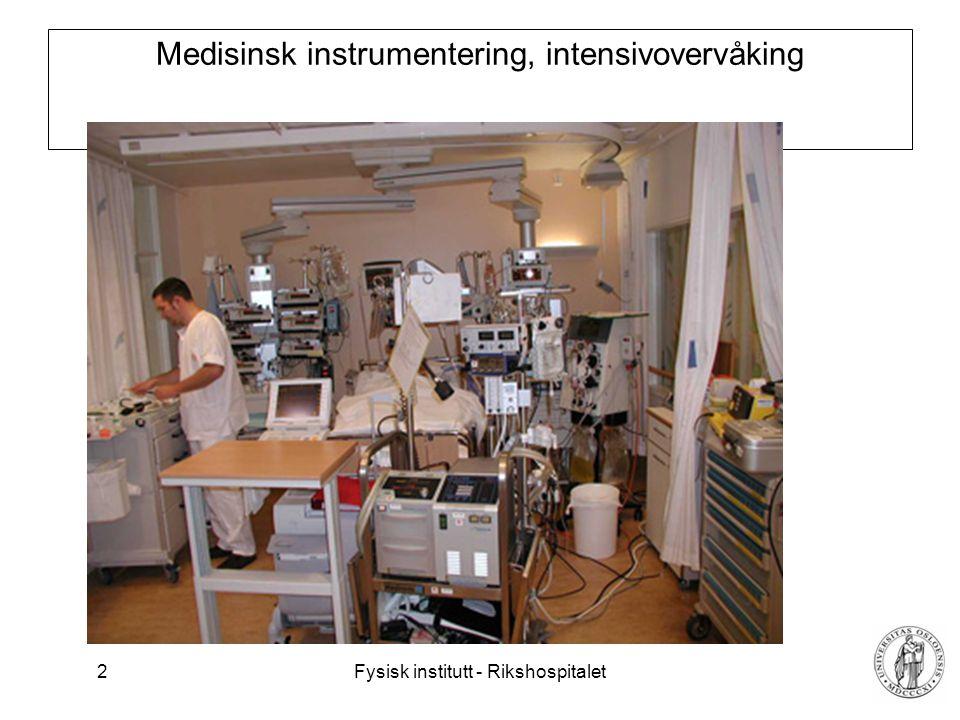 Fysisk institutt - Rikshospitalet 2 Medisinsk instrumentering, intensivovervåking