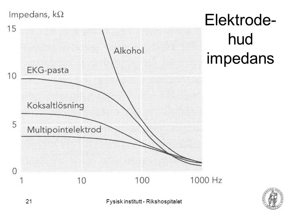 Fysisk institutt - Rikshospitalet 21 Elektrode- hud impedans
