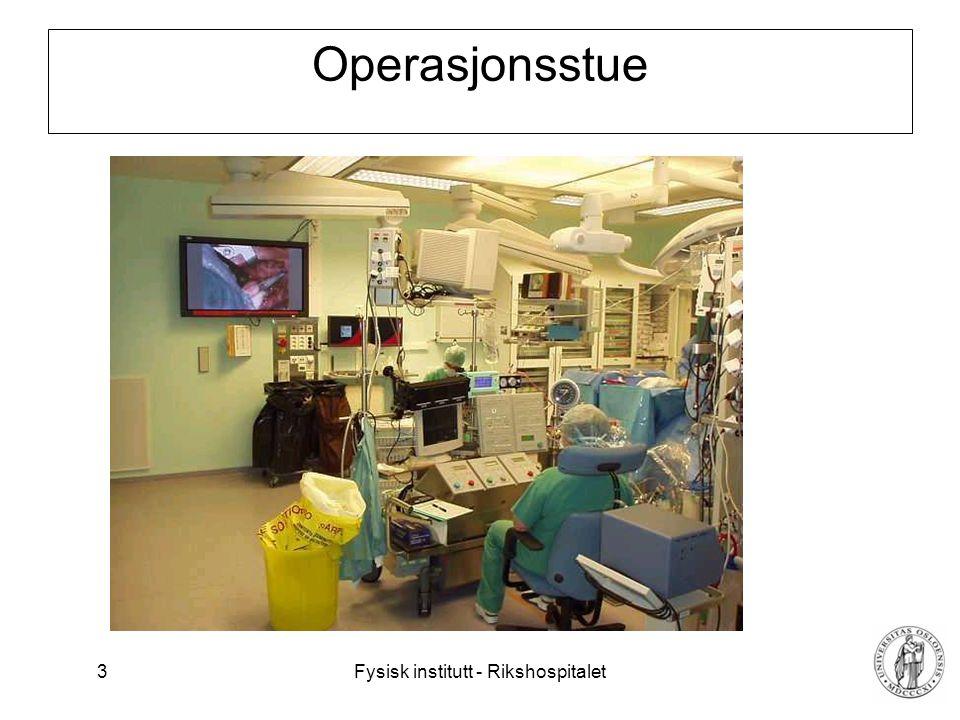 Fysisk institutt - Rikshospitalet 4 Måle-enheter, SI system U = 5 volt U er størrelsen (quantity) 5 er måltallet [volt] er enheten (unit) Eksempler på ikke SI-enheter: bar, psi, inch, yard, grader Fahrenheit, miles, gallon