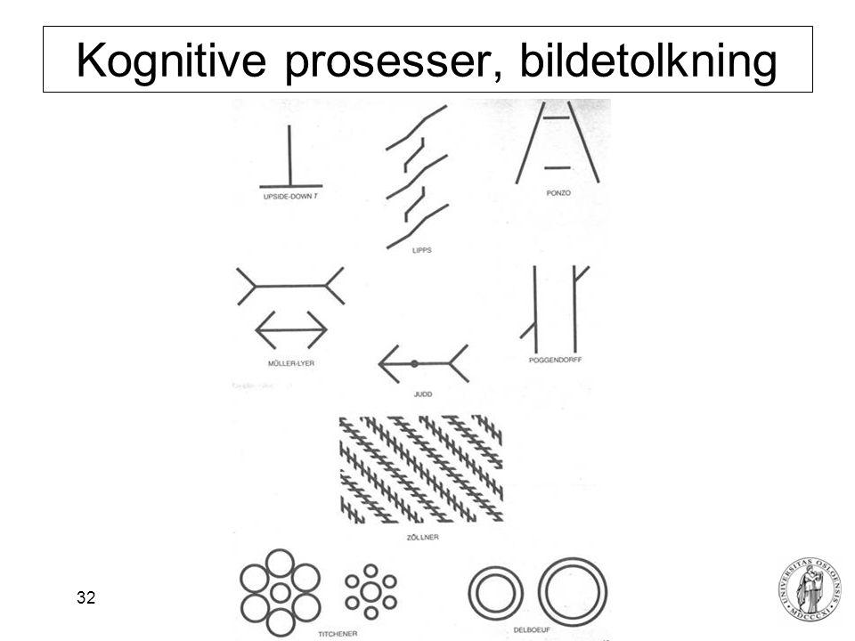 Fysisk institutt - Rikshospitalet 32 Kognitive prosesser, bildetolkning
