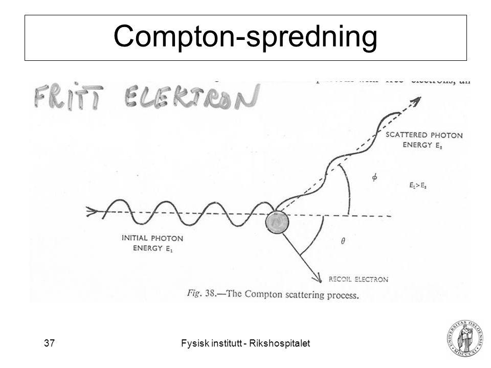 Fysisk institutt - Rikshospitalet 37 Compton-spredning