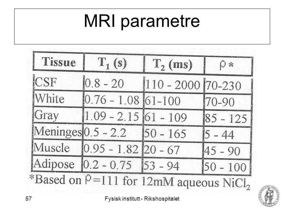 Fysisk institutt - Rikshospitalet 58 Intervensjons-MR