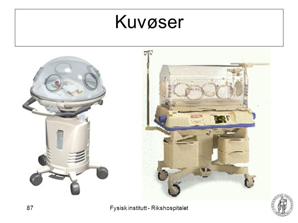 Fysisk institutt - Rikshospitalet 87 Kuvøser