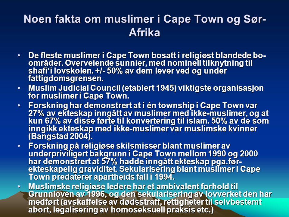 Noen fakta om muslimer i Cape Town og Sør- Afrika De fleste muslimer i Cape Town bosatt i religiøst blandede bo- områder. Overveiende sunnier, med nom