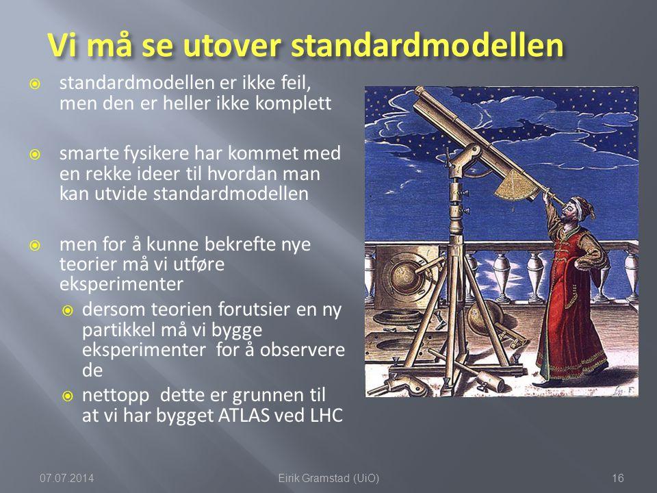 Vi må se utover standardmodellen  standardmodellen er ikke feil, men den er heller ikke komplett  smarte fysikere har kommet med en rekke ideer til