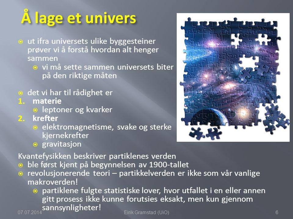 Leptoner Kvarker Materiepartikler Kraftformidlende partikler Standardmodellen tar form partikkelfysikkens periodetabell  på 1970-tallet begynner en modell å ta form  standardmodellen for partikkelfysikk  man kunne matematisk beskrive de forskjellige elementærpartiklene og kreftene som virker mellom dem 07.07.20147Eirik Gramstad (UiO)
